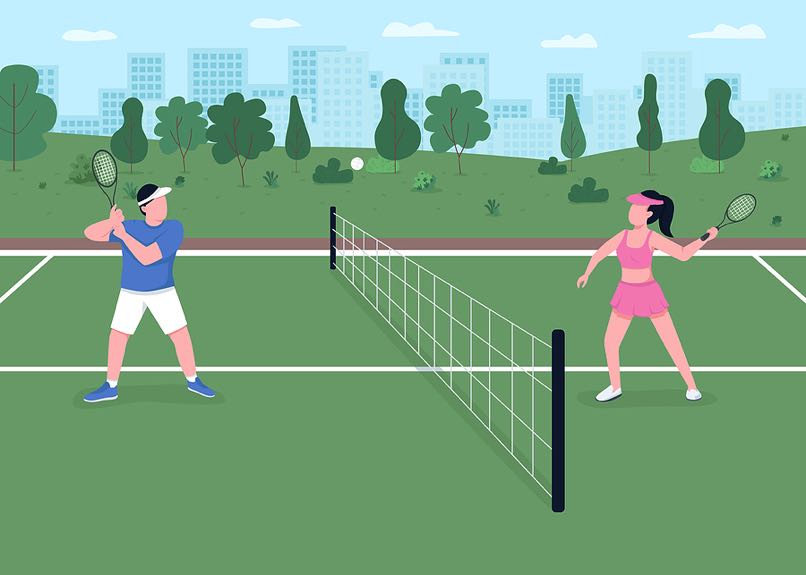 Man and woman tennis