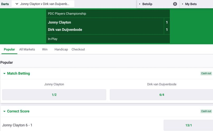 PaddyPower Darts In Play Betting