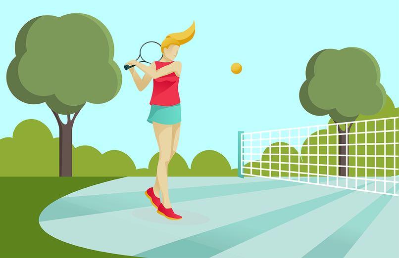 Tennis girl cartoon