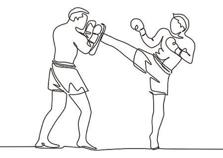 Boxing graphic single line